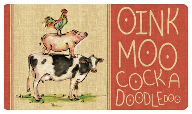 """Cushion Comfort Oink, Moo, Cockadoodle Door Mat, 18""""x30""""."""