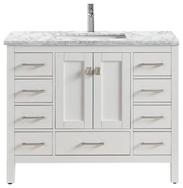 Eviva Hampton 36 X 18 Inch White Transitional Bathroom Vanity With White Carrara Transitional Bathroom Vanities And Sink Consoles By Homesquare Houzz
