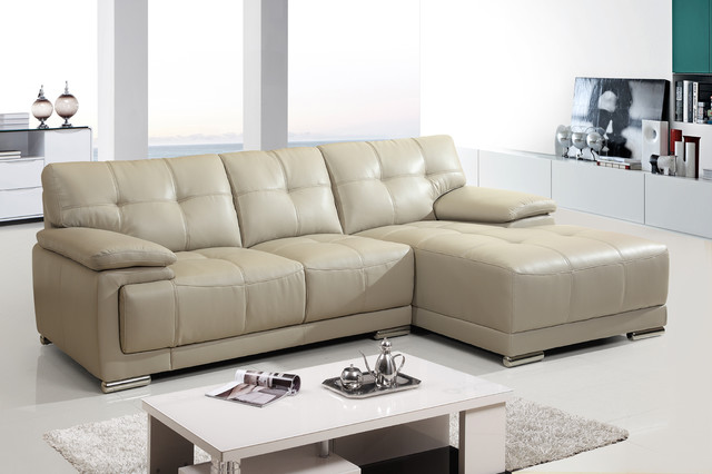 Modern Small White Leather Sectional Sofa Couch Chaise Tuft Back Seat contemporary-sectional-sofas : small leather sectional sofa with chaise - Sectionals, Sofas & Couches