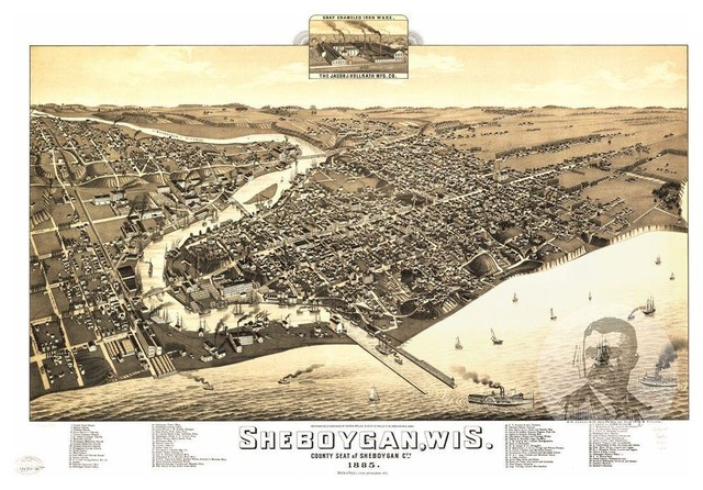 24x36 Vintage Reproduction Map Wauwatosa Wisconsin Milwaukee County 1892