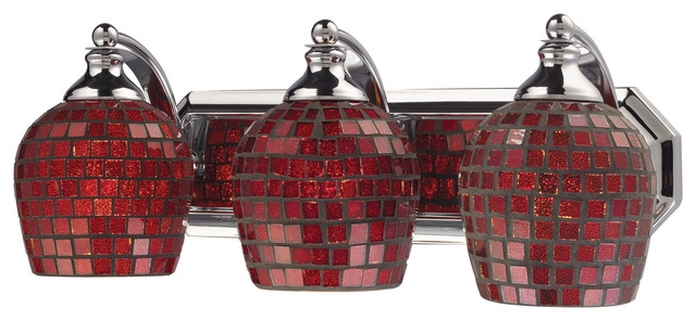 3-Light Vanity, Polished Chrome And Copper Mosaic Glass