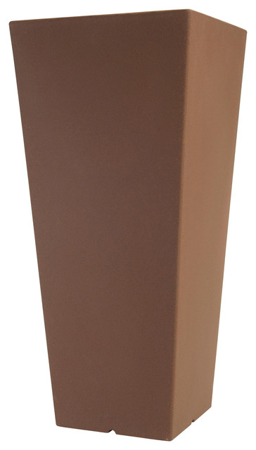 Hydrus Tall Square Tapered Polyethylene Outdoor Plant Pot, Chocolate Brown