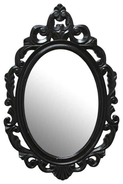 Stratton Home Decor Black Baroque Mirror.