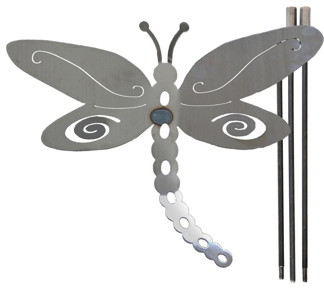 Large Metal Dragonfly Yard Stake Contemporary Garden Statues And Yard Art