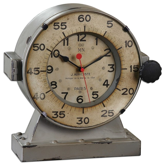 Retro Nautical Table Clock, Coastal Marine Chronometer Style Metal  Industrial Desk And