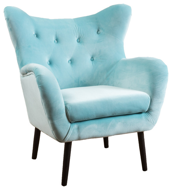 Finest Danielle Velvet Armchair, Light Blue - Midcentury - Armchairs And  UY42