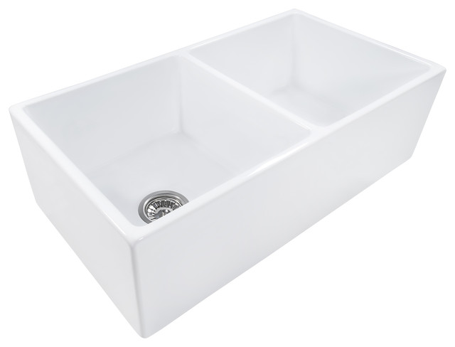 Ruvati 33x18 Fireclay Farmhouse Apron Front Kitchen Sink Double Bowl White