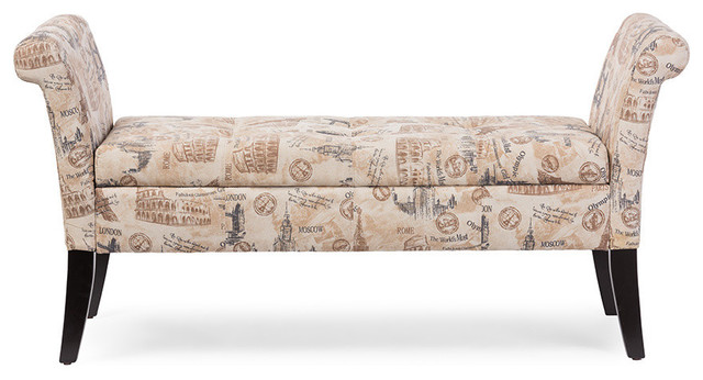 Avignon Towers-Patterned French Laundry Fabric Storage Ottoman Bench.