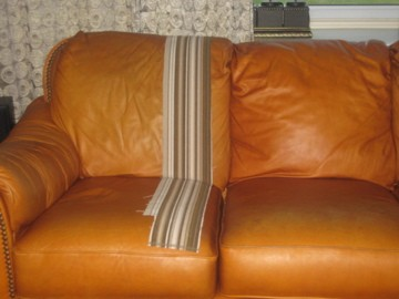 Reupholstering A Leather Couch, Chair And Ottoman.
