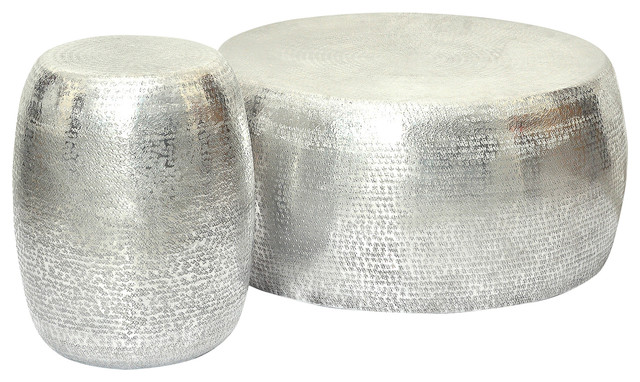 Marrakech Embossed Metal Round Side Table/Stool, Silver Side Tables And
