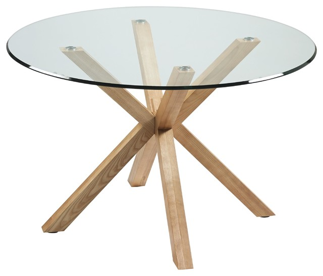 Idol Round Glass Dining Table, Ash Wood Legs