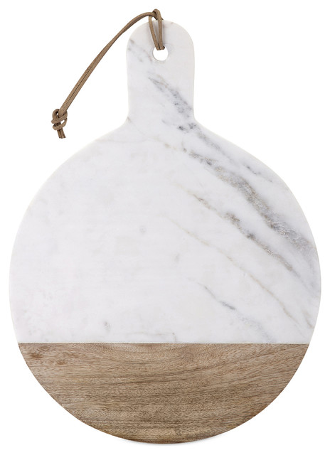 Addy Marble & Wood Cheese Board, Round