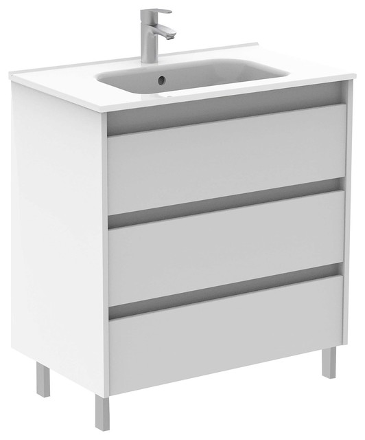 Sansa 24 Inches Modern Standing Bathroom Vanity 3 Drawer White With Basin