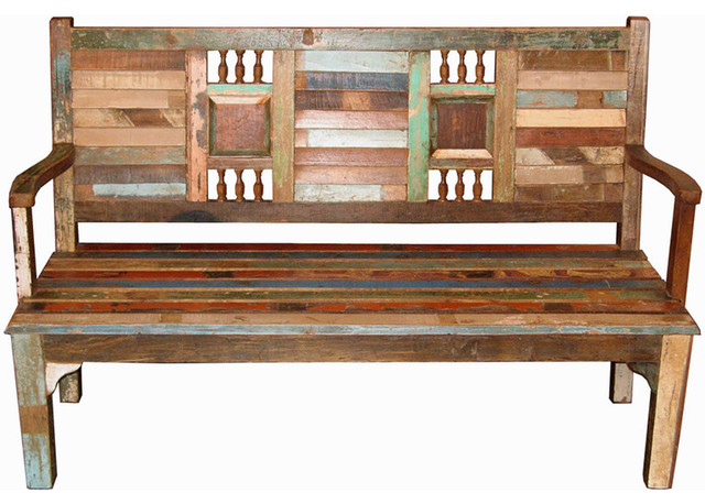 Recycled Wood Bench - Asian - Indoor Benches - Other - by Tansu Design