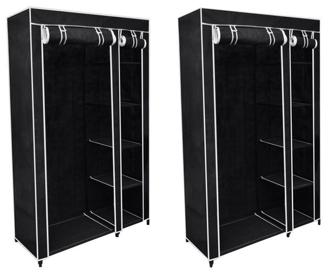 Vidaxl Set Of 2 Folding Wardrobes, Black.