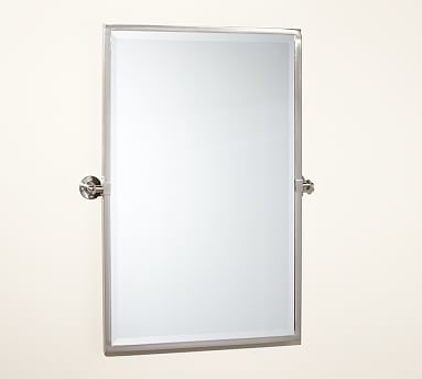 satin nickel bathroom mirror kensington pivot mirror large rectangle satin 20309