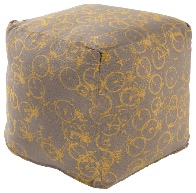 Surya Peddle Power Cube Pouf Ottoman Brown Contemporary