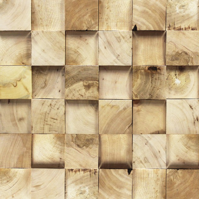 3D Reclaimed Rectangular Solid Barn Wood Panels 10.4sqft Per Box, Natural  Pine