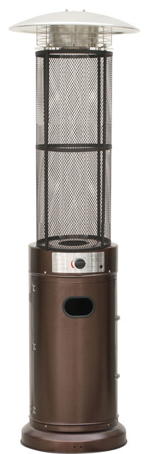 6 Ft. 34,000 Btu Cylinder Patio Heater With Glass Flame Display In Bronze.