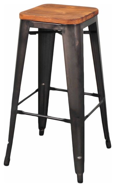 Grand Metal Bar Stools Set Of 4 Industrial Bar Stools