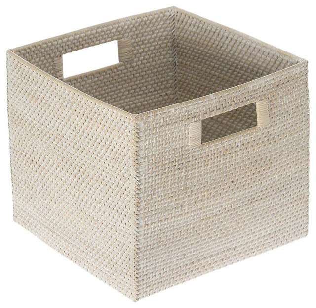 Kouboo Laguna Square Rattan Storage Basket White Wash