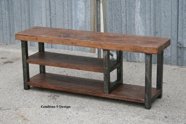 Vintage Industrial Bench Solid Reclaimed Wood Steel