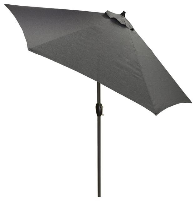 9&x27; Round Outdoor Patio Umbrella With Black Pole, Gray.