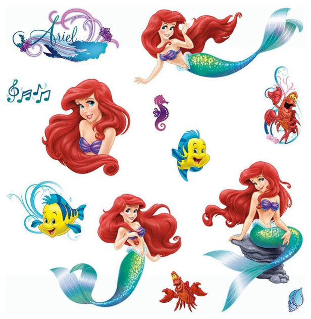 Disney Little Mermaid Wall Stickers Glamour Ariel Decals
