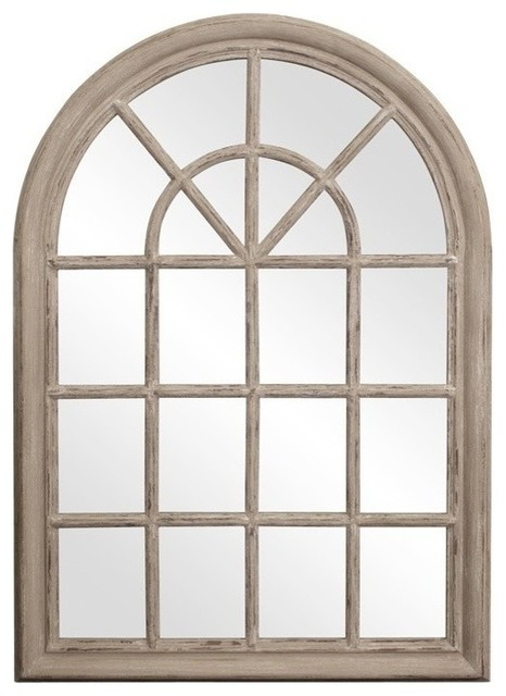 Fenetre Arched Rustic Windowpane Style Mirror.