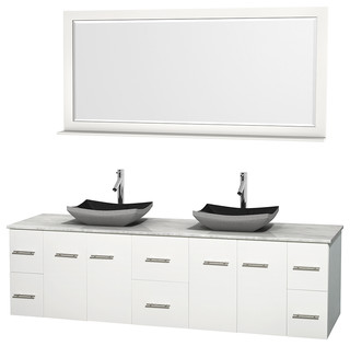 Centra 80 Matte White Double Vanity Carrera Marble Top Contemporary
