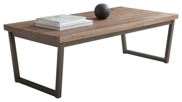 Elegant Coffee Table, Distress Walnut With Metal Base Modern Coffee Tables