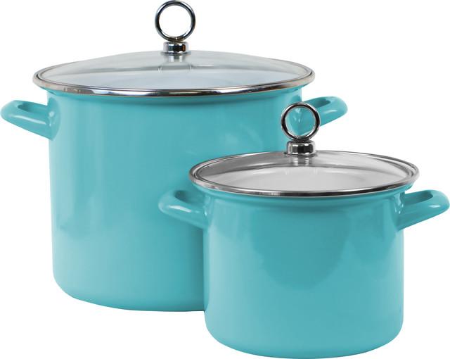 Enamel Stock Pots, Set Of 2, Turquoise.