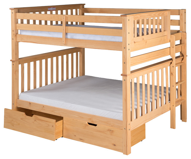 Santa Fe Mission Bunk Bed Full Over Full, Bed End Ladder with Drawers, Natural