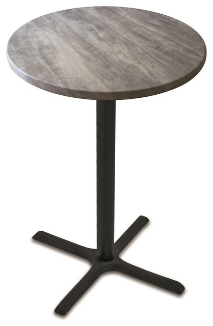 "36"" Black Wrinkle Indoor/outdoor Table With Greystone Top."