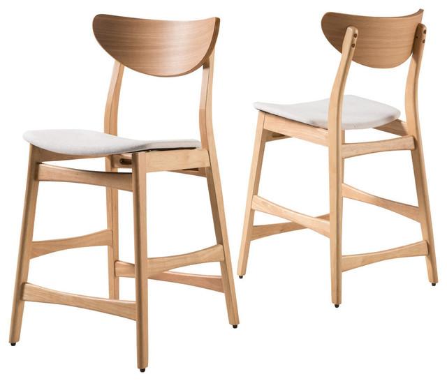 Excellent Gdf Studio Molle Mid Century Design Counter Stools Beige Oak Set Of 2 Cjindustries Chair Design For Home Cjindustriesco