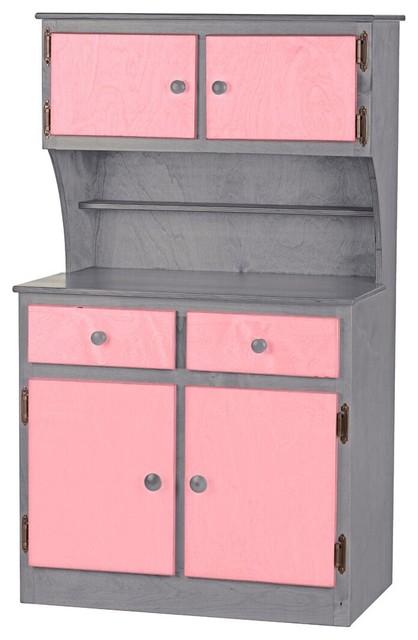 Preschool Play Kitchen Hutch Cabinet Made USA Wood Furniture, Pink/Gray