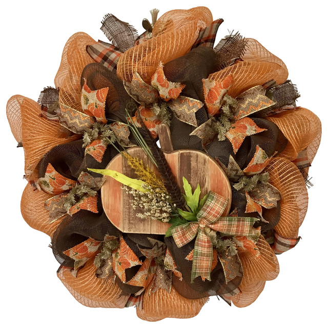 Harvest Slotted Pumpkin With Harvest Bouquet Handmade Deco Mesh Wreath.