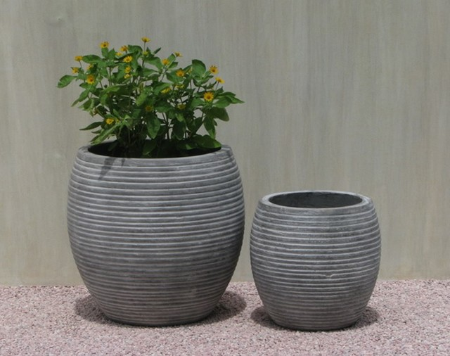 Amazing light concrete pot for home and garden
