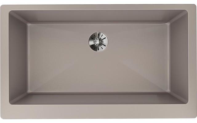 "Elkay Quartz Luxe 35-7/8"" Farmhouse Sink With Perfect Drain Silvermist"
