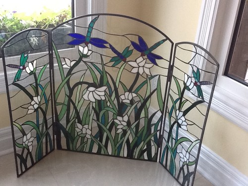 - Beautiful Stained Glass Fireplace Screen