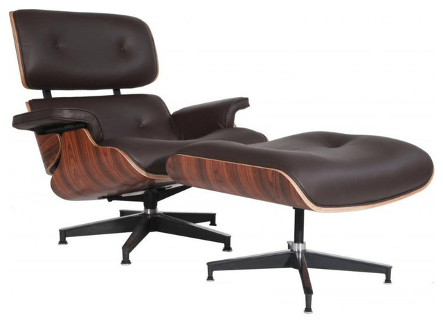 Aniline Leather Lounge Chair and Ottoman, Seat: Brown, Base: Palisander