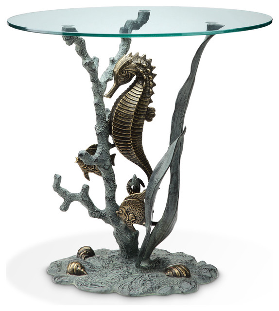 Bronze Finish Seahorse Glass Top End Table Beach Style Side Tables And