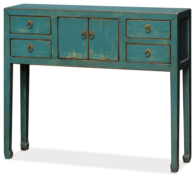 Attractive Elm Wood Ming Style Console Table, Distressed Blue Asian Console Tables