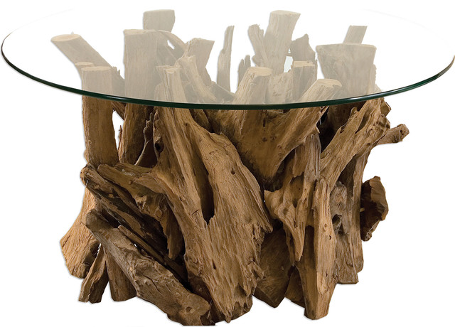 Driftwood Glass Top Cocktail Table, Natural Rustic Coffee Tables