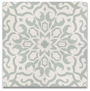 8 Quot X8 Quot Atlas Handmade Cement Tile Green And White Set Of