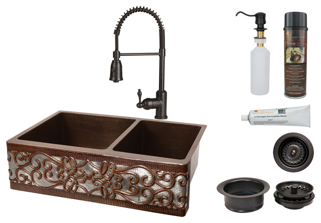 """33"""" Hammered Copper Kitchen Apron 60/40 Double Basin Sink With Scroll Design."""