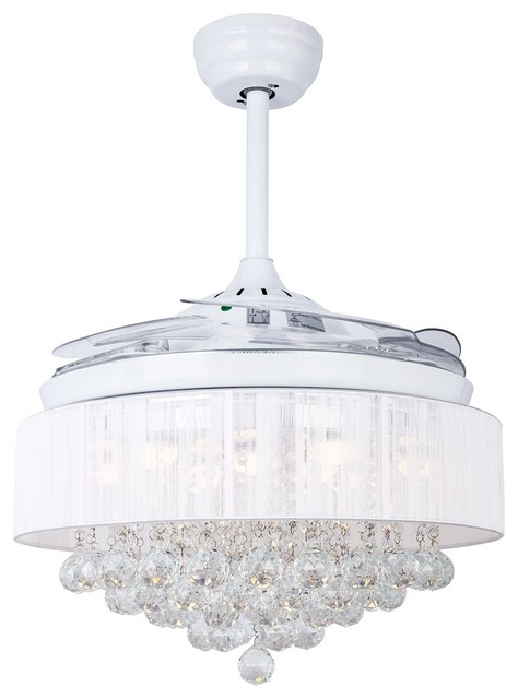 Lampsluma Foldable Blades 42 Ceiling Fan With Crystal