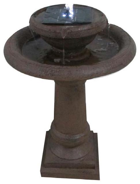 Solar Bird Bath Bronze Fountain With 4 Led Lights