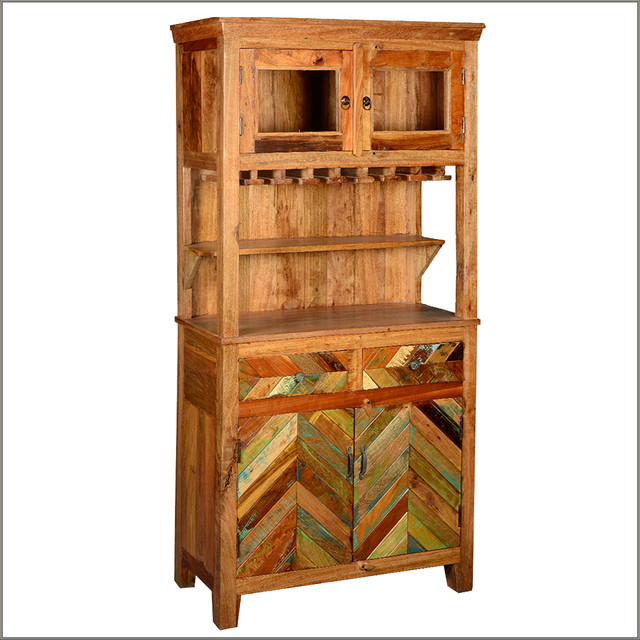 Farmhouse Reclaimed Wood Wine Glass Holder Sideboard & Hutch - Rustic - Buffets And Sideboards ...