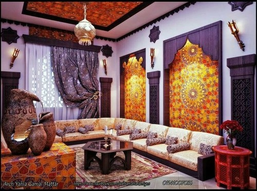 Need ideas for window treatment to create a moroccan salon for Moroccan living room furniture 02